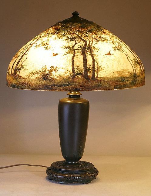 Handel Scenic Painted Birds Lamp