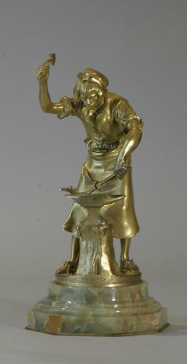 Bronze Iron Worker signed A. Gaudez