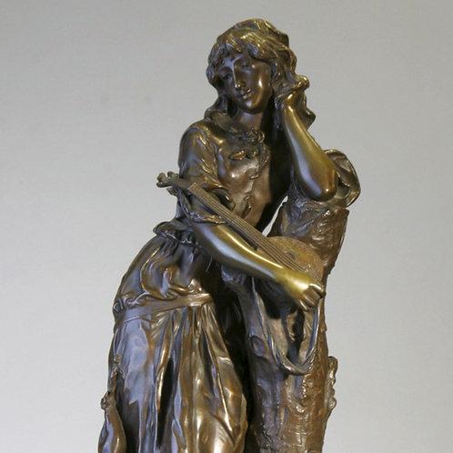 Bronze Woman w/ mandolin signed A. Gouce
