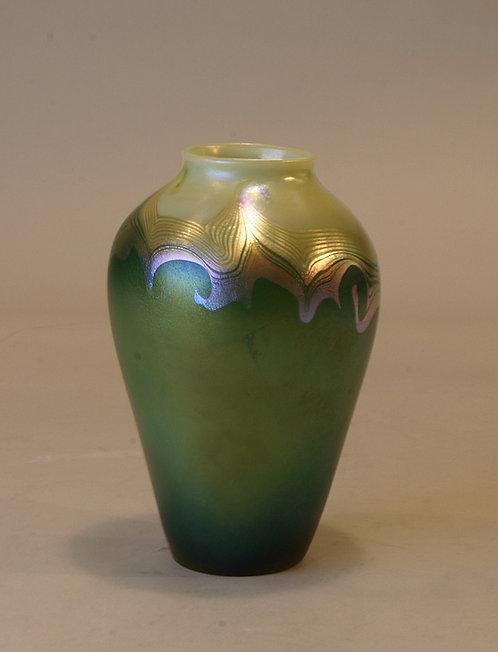Tiffany Decorated Green /Cream Vase