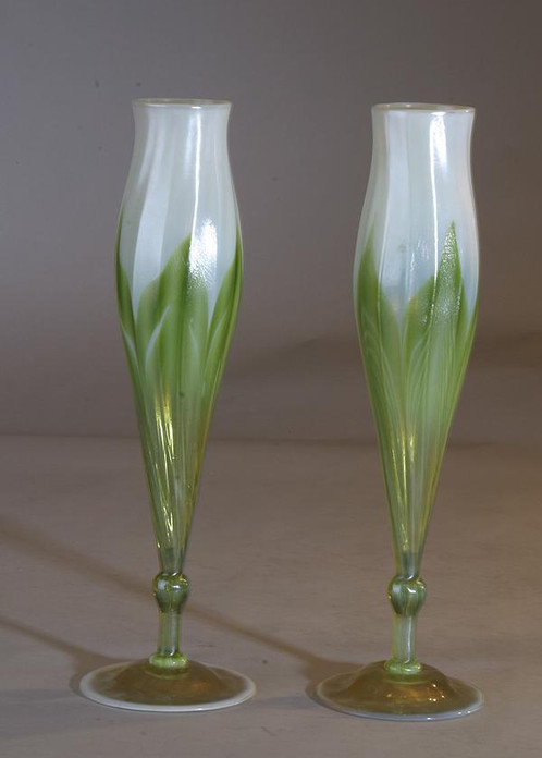 Tiffany Flower Form Pulled Feather Vases Tiffany The Antique Traders