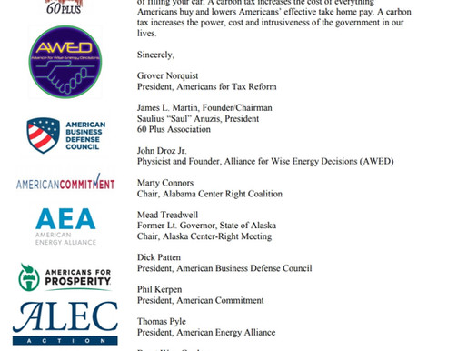 "75 Conservative Groups: ""We oppose any carbon tax."""
