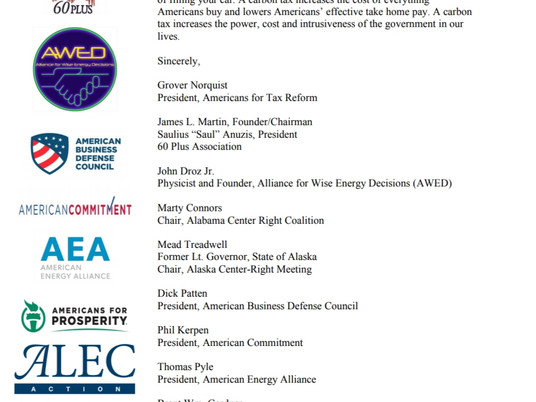 """75 Conservative Groups: """"We oppose any carbon tax."""""""