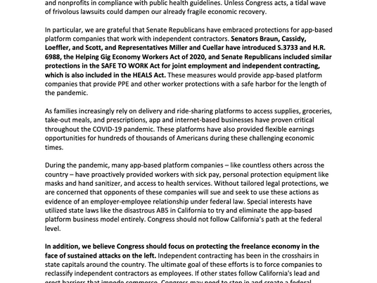Joint Letter Supporting Language to Protect Freelance Economy