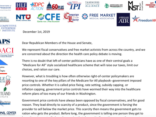 75 Conservative Groups Urge Congress Not to Adopt Price Controls to Reform Healthcare