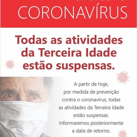 EM FUNÇÃO DO CORONAVÍRUS, PREFEITURA SUSPENDE ATIVIDADE DA TERCEIRA IDADE