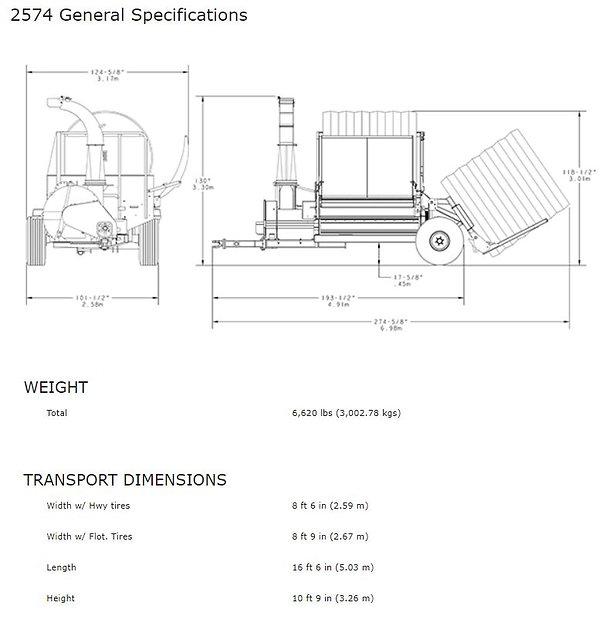 Haybuster 2574 spec sheet 1, weight and transport dimensions