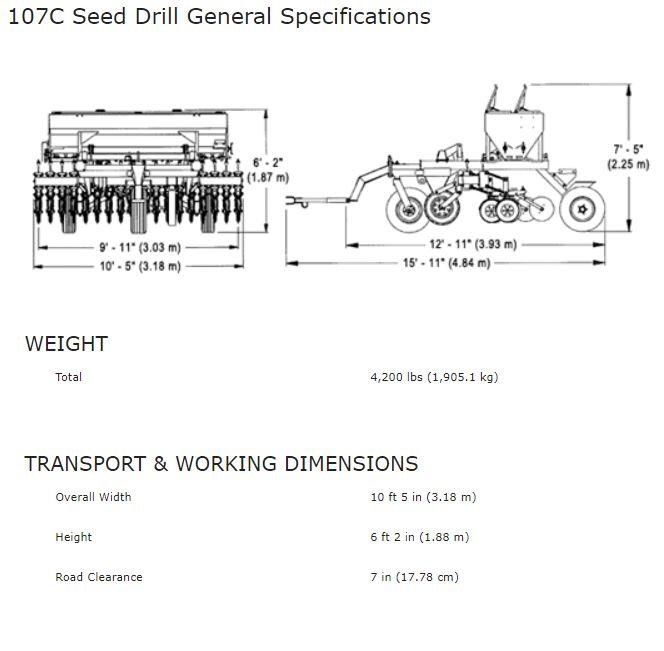 Haybuster 107C Seed Drill Spec Sheet, erosion control equipment, grain drill