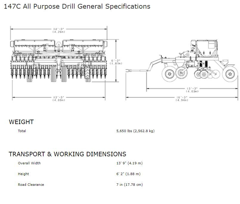 Haybuster 147C Seed Drill Spec Sheet, erosion control equipment, erosion control, seeding, conventional seeding