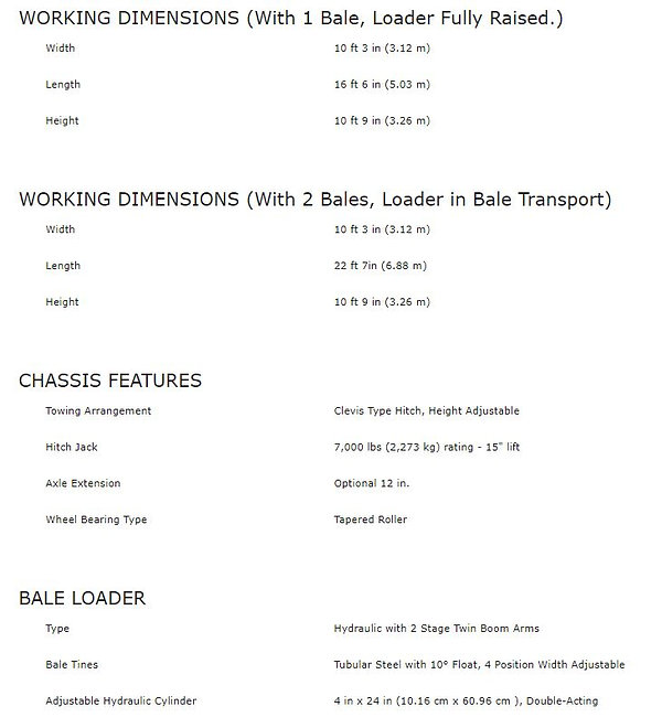 Haybuster 2574 spec sheet 2, working dimensions and chassis features