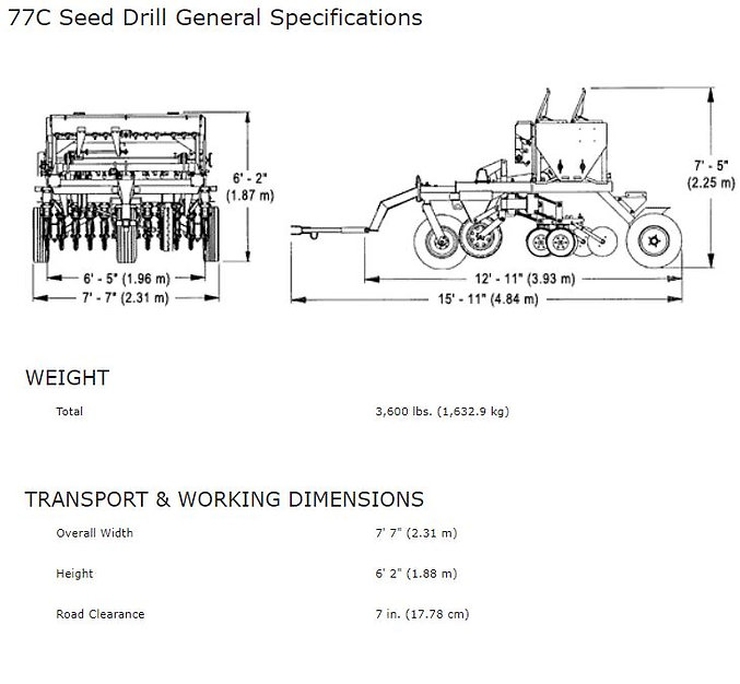 Haybuster 77C Seed Drill Spec Sheet, erosion control equipment, hard land drill