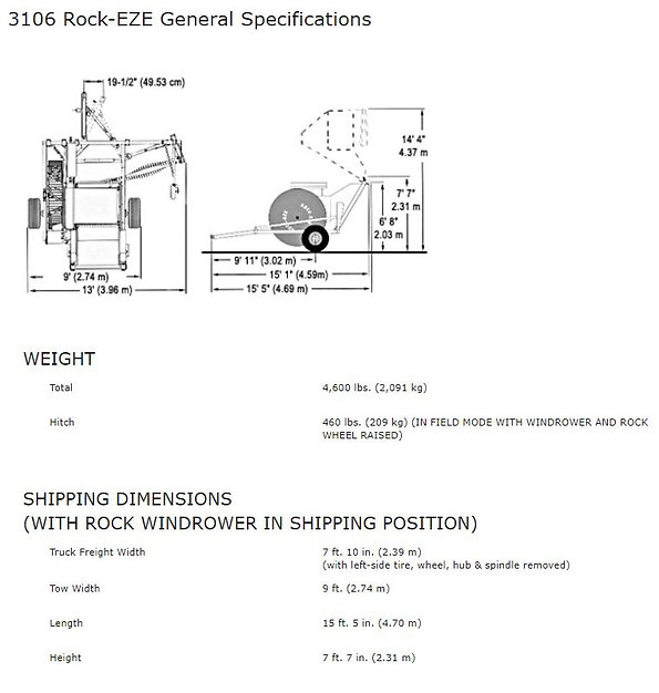 Haybuster 3106 Rock-EZE specifications