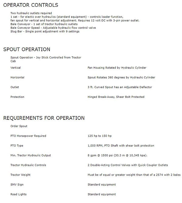 Haybuster 2574 Spec Sheet 4, operations and minimum requirements