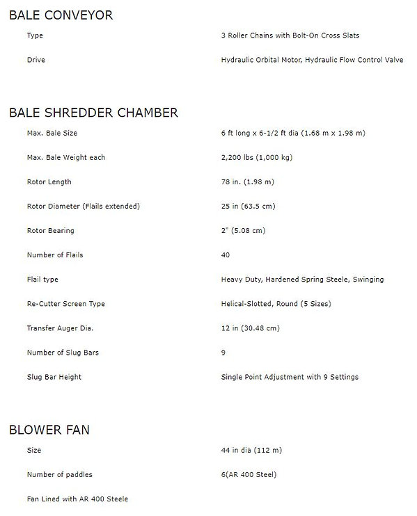 Habuster 2573 Spec Sheet 3, bale shredder, blower fan