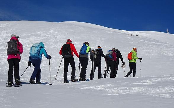 Bergwanderführer Roland Hilfiker mit einer Schneeschuhwandergruppe