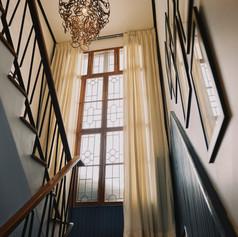 Winner Inn Lobby Stairs Rattan Chandelier