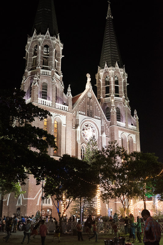 St Mary's Cathedral lit up for Xmas