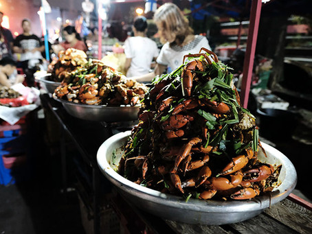 Yangon Street Food Night Market Along Strand Road