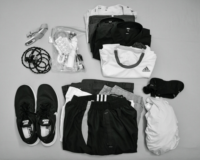 Flat lay of the clothes inside the duffle
