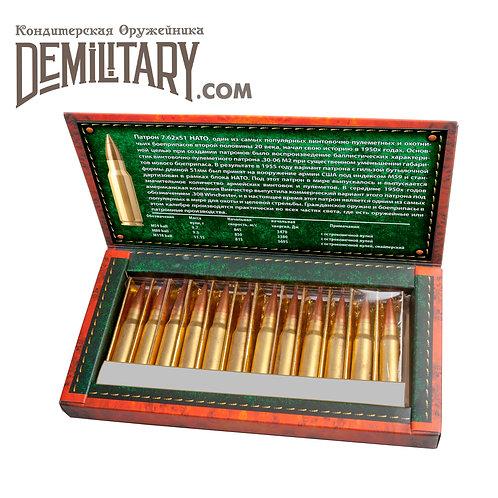 Шоколадные патроны 7.62х51 (.308Win) 12шт в подарочной упаковке