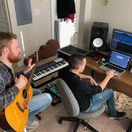 Working on a single with artist Abe Parker