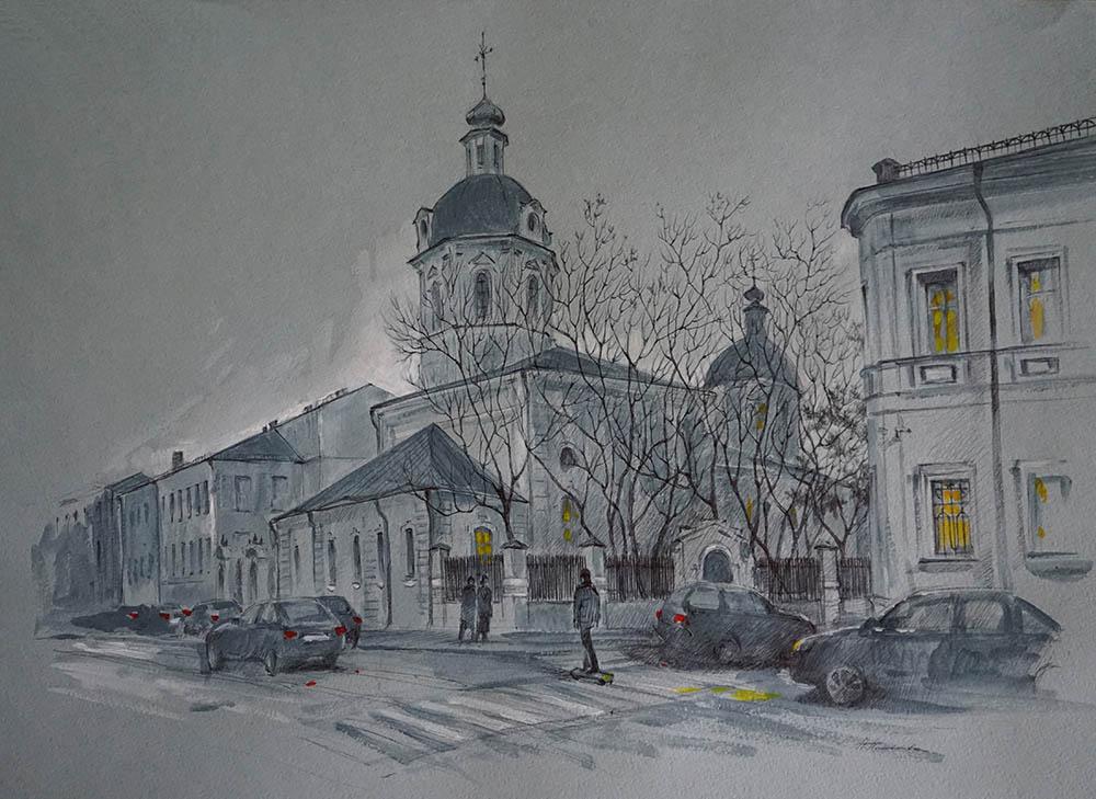 Нина Панюкова Пятничные прогулки по Рождественке 41х57