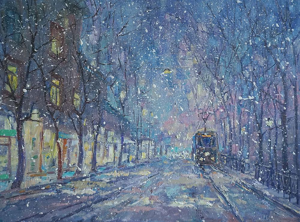 Александр Панюков Первый трамвай 30х40 х м
