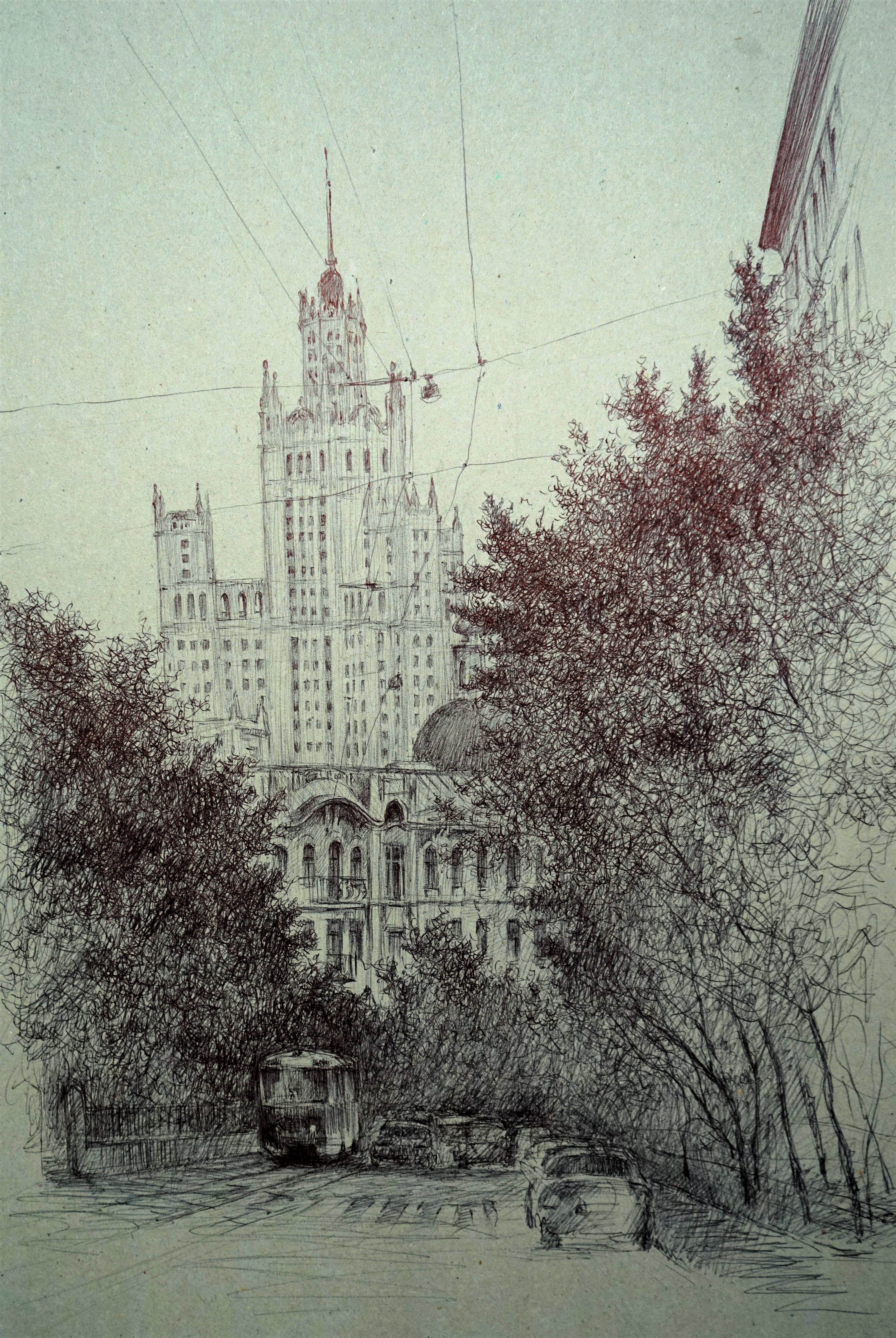 Панюкова Нина Майская суббота Яузский бульвар 37х25 картон ручка тушь