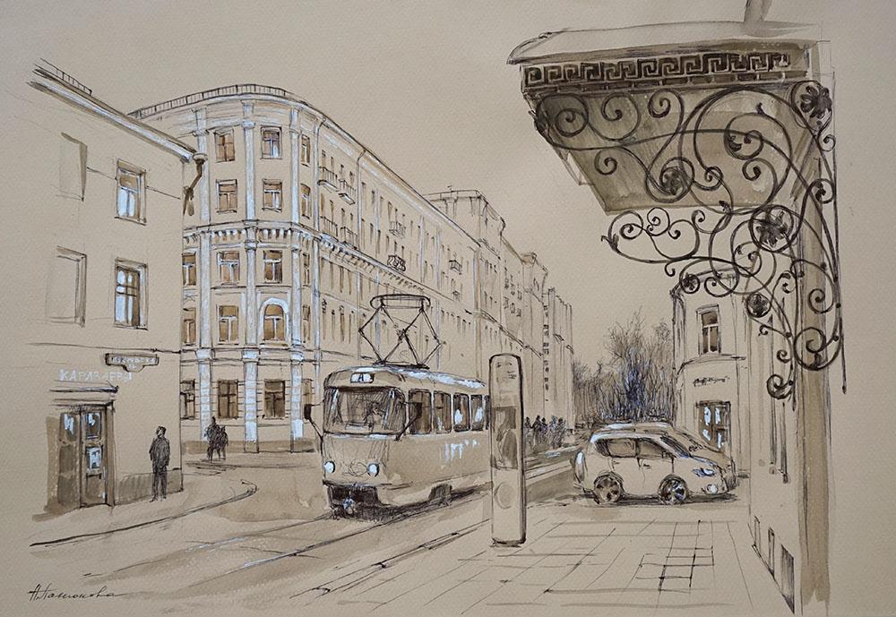 """Нина """"Трамвай у Покровских ворот""""."""