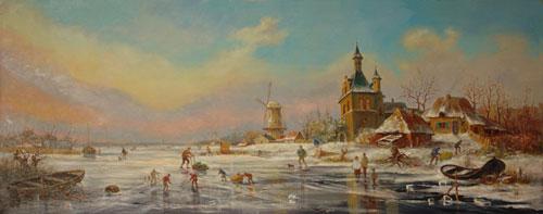 Александр Панюков На скользском льду. 40х100, х. м.