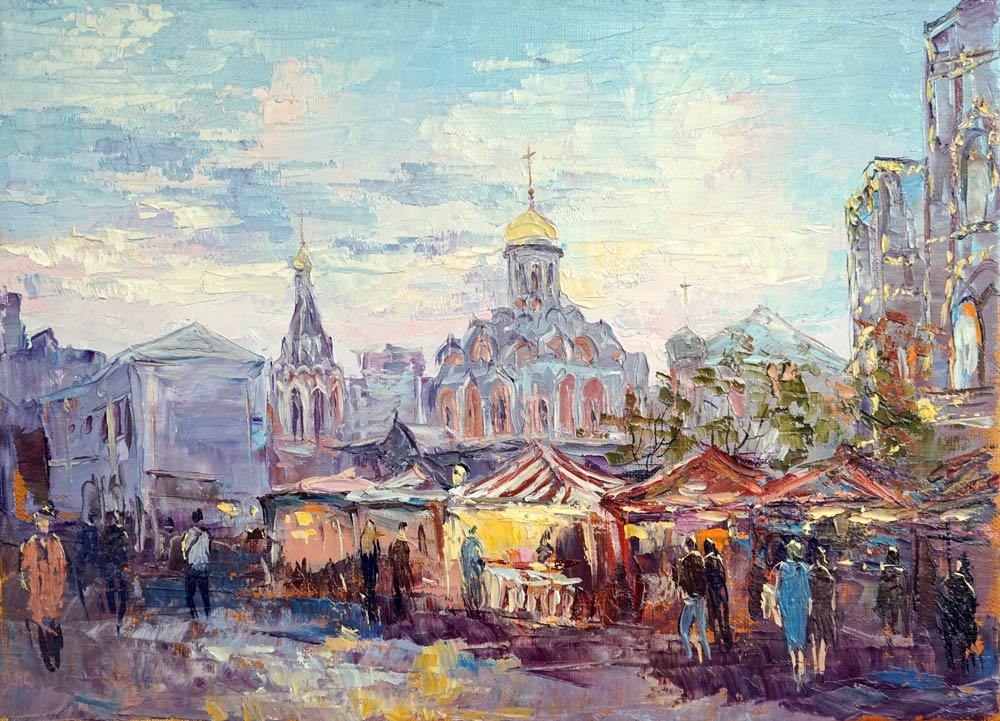 Нина Панюкова Вид с Красной площади на Никольскую. 25х40, х. м.