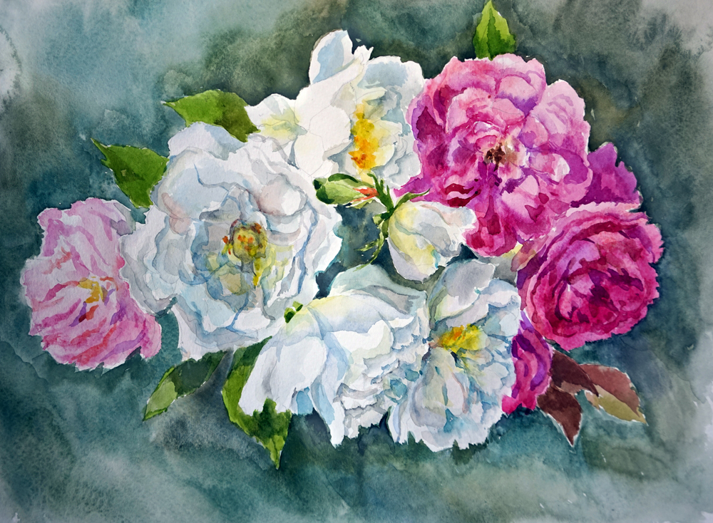 Нина Панюкова Букетик роз акварель бумага 40х50 размер с паспарту