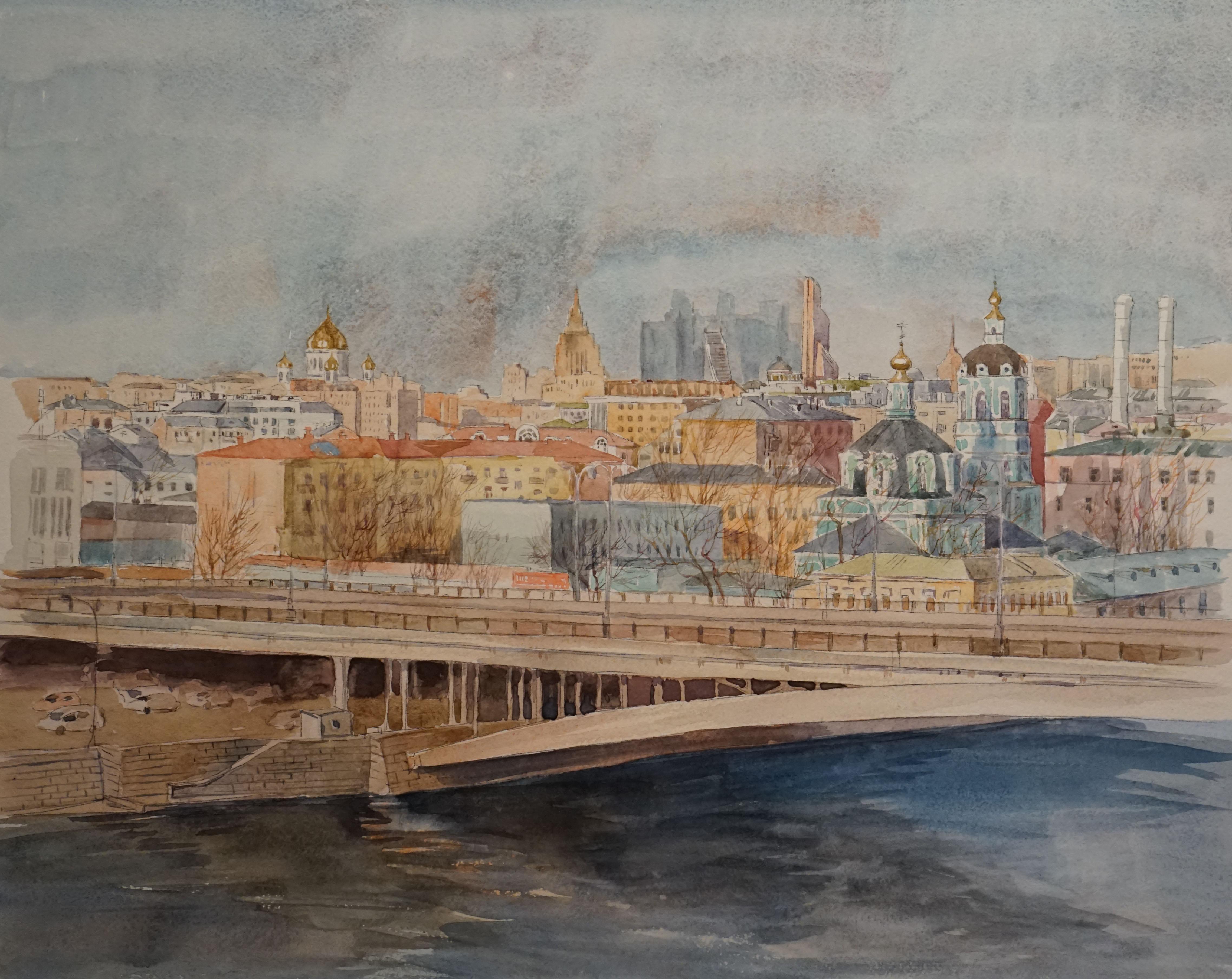Нина Панюкова Взгляд из окна 40х50 бумага акварель карандаш