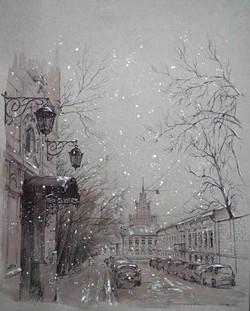 "Нина Панюкова ""Колпачный переулок"". 40х35 см, бумага,"