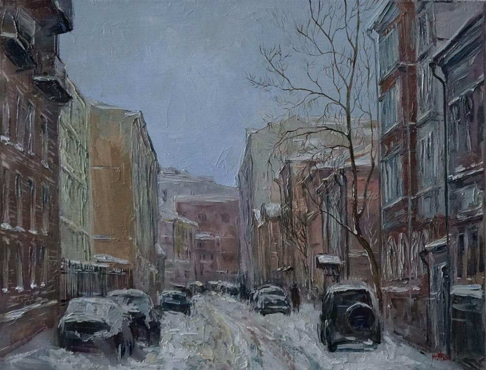 Нина Панюкова Заснеженная улица Чаплыгина 30х40 х м