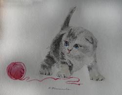 Нина Панюкова Милый котик 25х30 бумага акварель ручка
