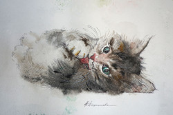 Нина Панюкова 20х30 Чистюля бумага акварель ручка