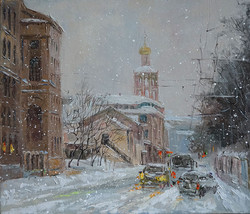 Нина Панюкова Снегопад на Петровке 30х35 х м