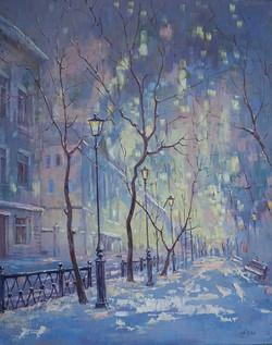Александр Панюков Зимний рассвет на Бульварном 50х40 х м