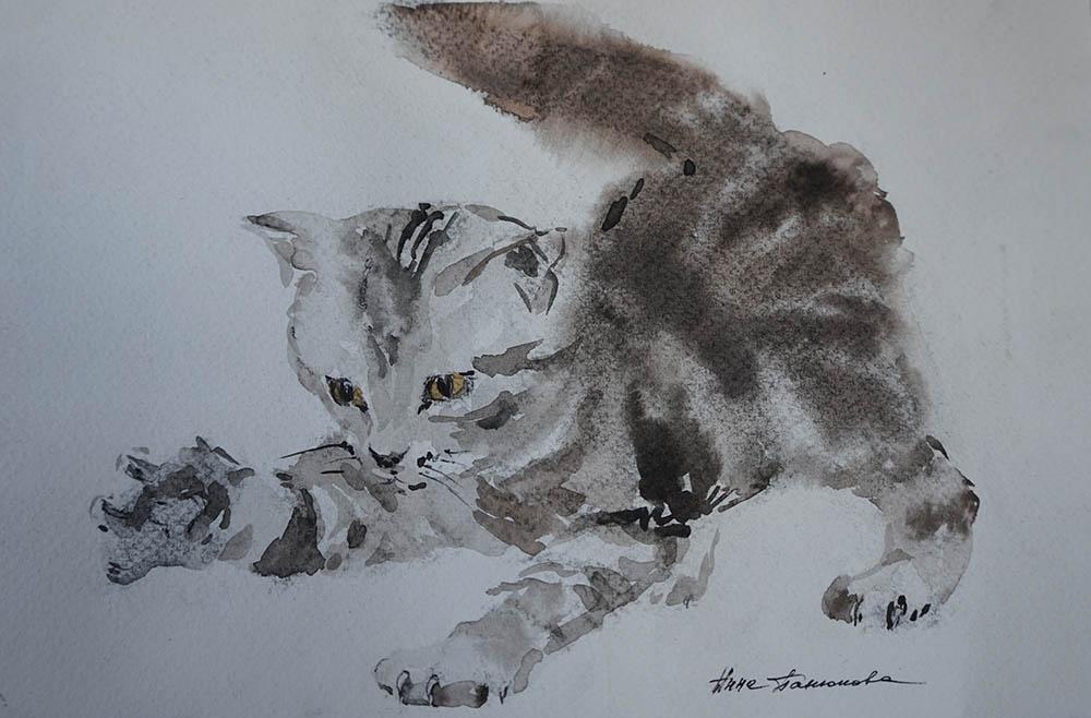 Нина Панюкова Котёнок 20х25 акварель бумага