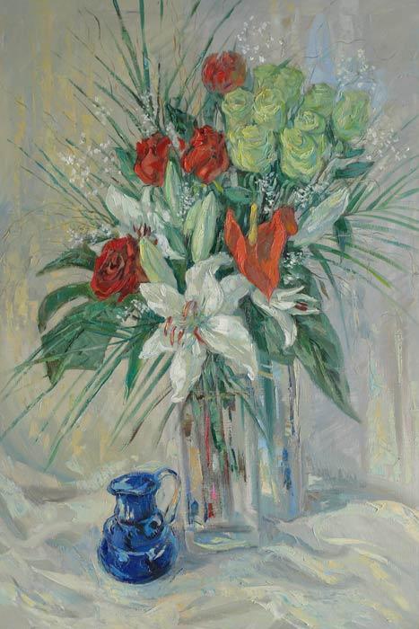 Нина Панюкова Цветы на белом фоне. 110х90, х. м.