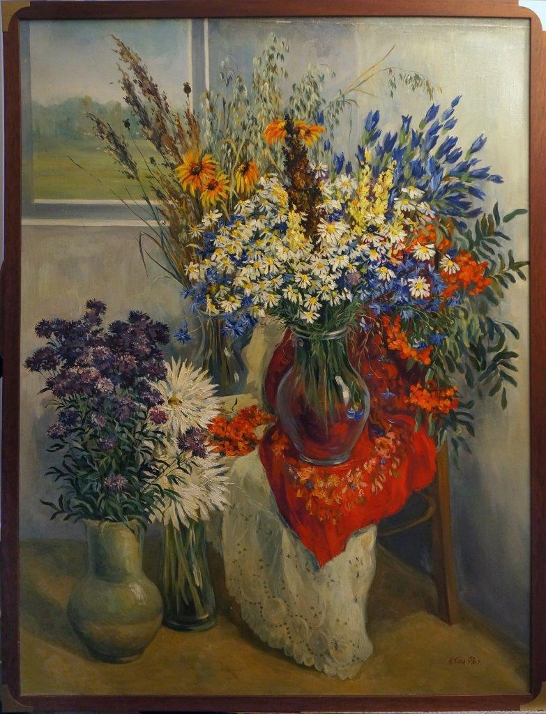 Нина Панюкова Натюрморт с полевыми цветами. х. м. 140х100
