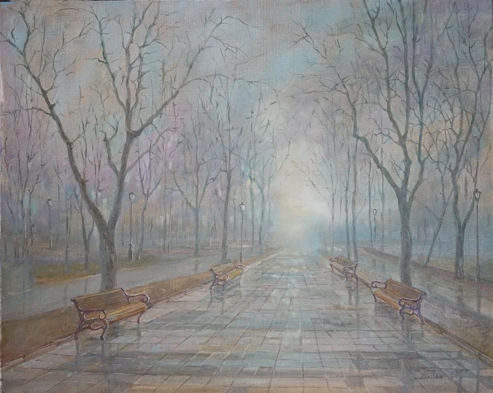 Александр Панюков Утренний туман в парке х м 40х50