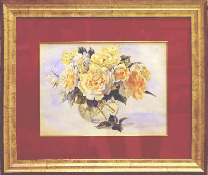 Нина Панюкова Розы в стеклянной вазе. бумага, акварель, 40х50