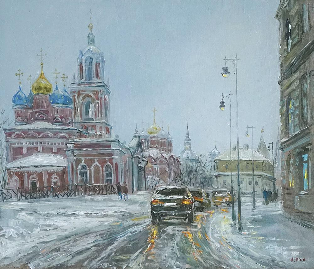 "Нина Панюкова ""Заснеженная улица Варварка."""