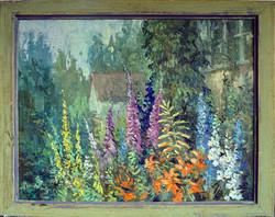 Нина Панюкова Цветы в саду. 40х50, х. м.