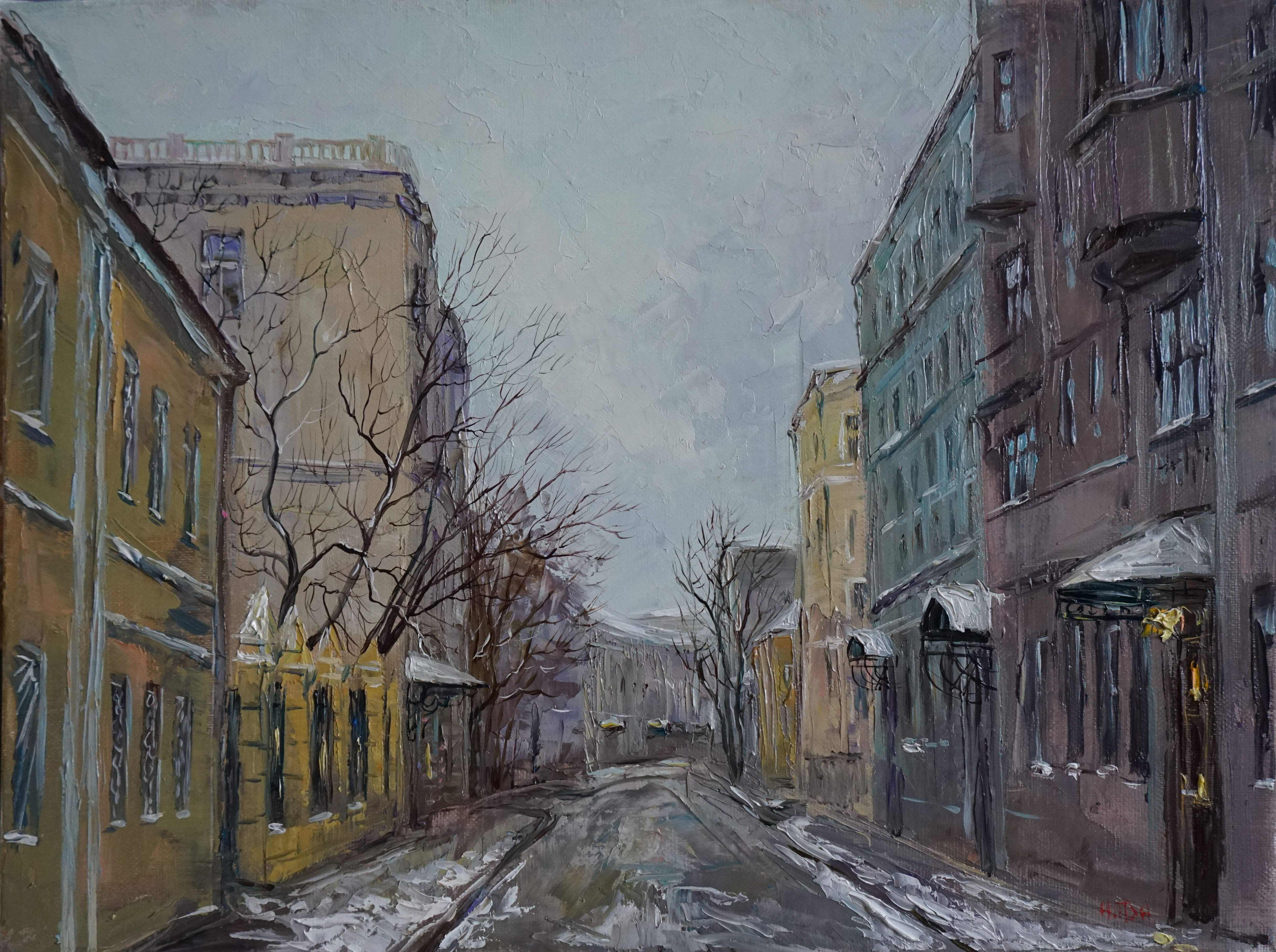 Нина Панюкова Кривоколенный переулок Первый снег 30х40 х м