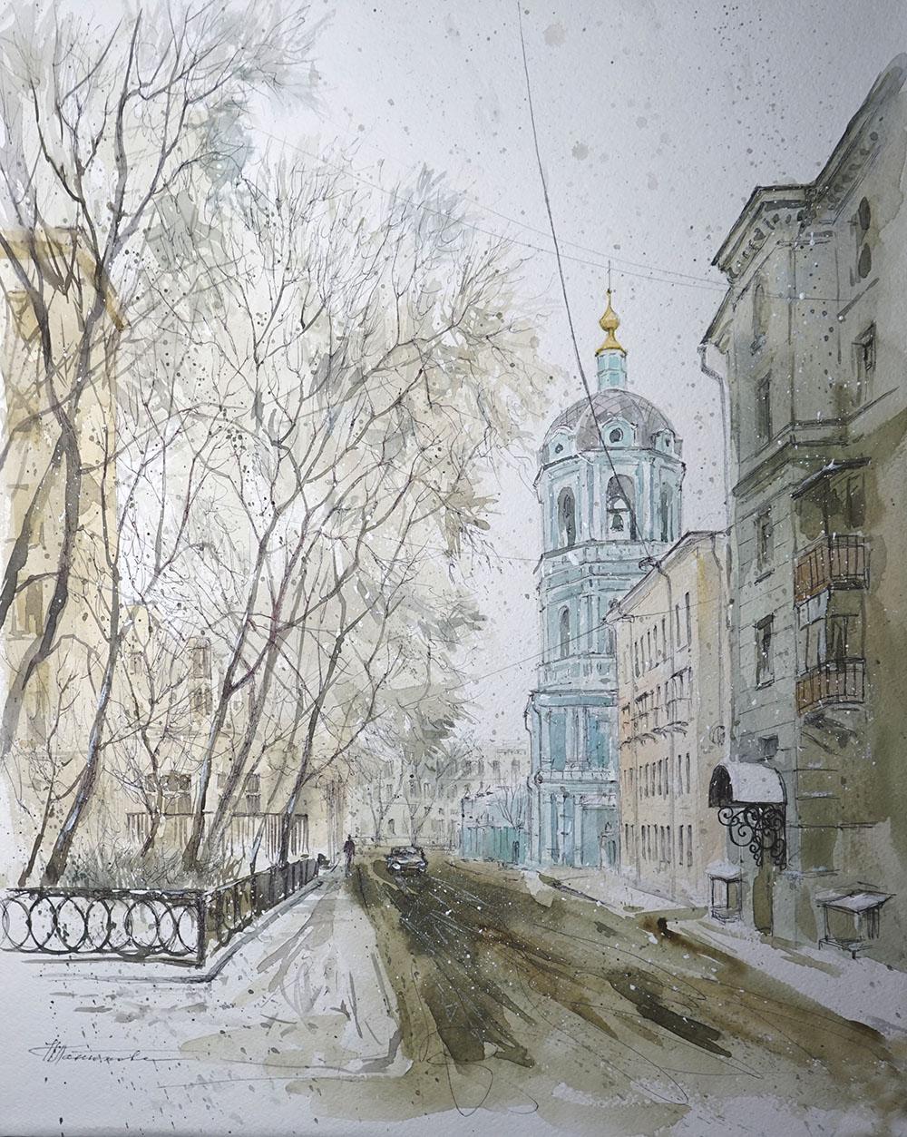"""Нина Панюкова """"Церковь Николая в Заяицком. 2-й Раушский переулок."""""""