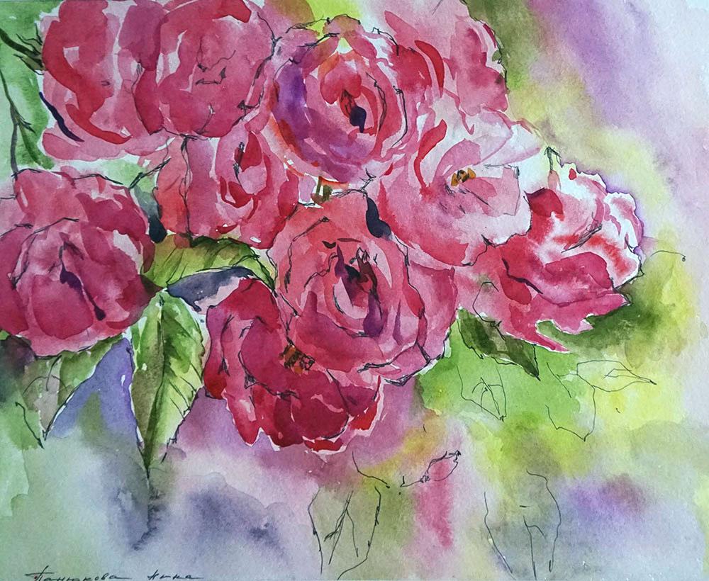 Нина Панюкова Красная роза 25х30 бумага акварель ручка