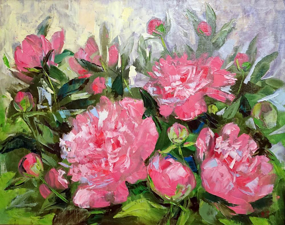 Нина Панюкова Розовые пионы х м 40х50